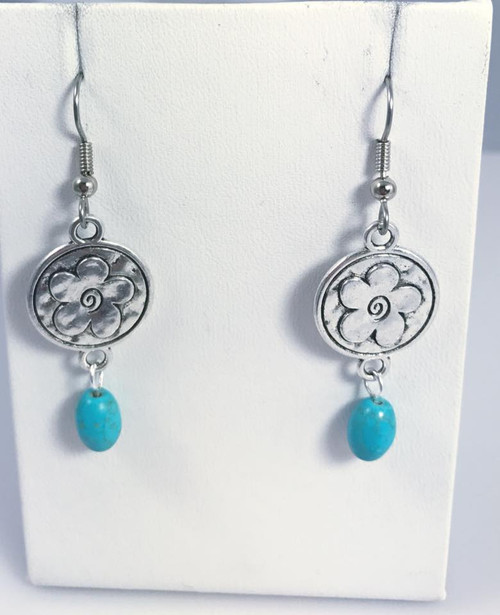 Resell for 6.00 or more  Pewter disc flower Surgical steel ear wires  Turquoise magnesite Style #PFDTE091917g