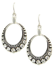 "resell for 18.00 or more ** Antique Silver Tone / Clear Rhinestone / Lead&nickel Compliant / Fish Hook / Circle / Dangle / Earring Set  • WIDTH X LENGTH : 7/8"" X 1 3/4""  • SILVER/CLEAR  Style #ASTCRE091917g"