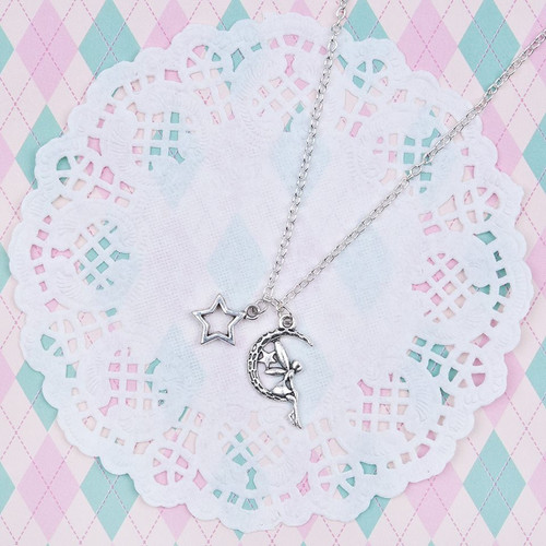 "resell for 9.00 or more Fairy Half Moon Star Necklace Link Cable Chain Antique Silver 51.6cm(20 3/8"") long Style #FMSN092117g"