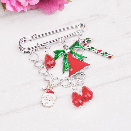 "resell for 9.00 or more  Pin Brooch Silver Plated Christmas Jingle Bell Candy Cane Enamel Pendants Glass Teardrop Red Beads 71mm(2 6/8"") x 50mm(2"") Styles #CHB092117g"