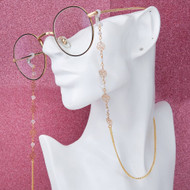 "resell for 12.00 or more Copper Eyeglasses Chain Holder Gold Plated White Flower 88cm(34 5/8"") long Style #GEGC092317g"