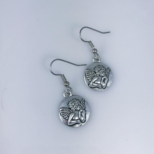 Resell for 5.00 or more ** Pewter angel disc Surgical steel ear wires Style #ADE092417g