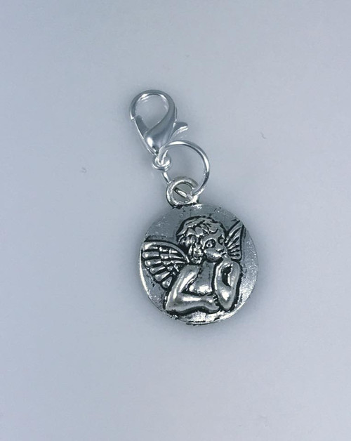Resell for 6.00 or more ** Pewter angel disc Lobster clasp Style #ADB092417g