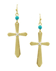 "Resell for 18.00 or more Matte Gold Tone / Lt.green Acrylic / Lead&nickel Compliant / Metal / Fish Hook / Dangle / Religious / Cross Earring Set Style #GTHE092517g • WIDTH X LENGTH : 7/8"" X 2 1/4""  • GOLD"