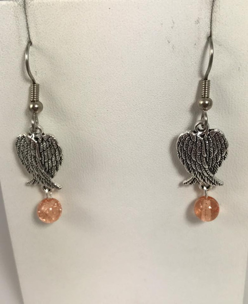 Resell for 6.00 or more Pewter angel wings Pink crackled glass  Surgical steel ear wires  Style #AWEP092617g