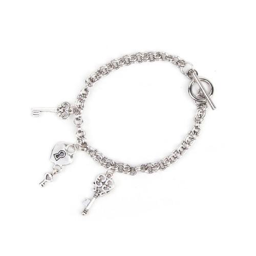 "resell for 9.00 or more Silver Tone Key Toggle Clasp 21.0cm(8 2/8"") long"