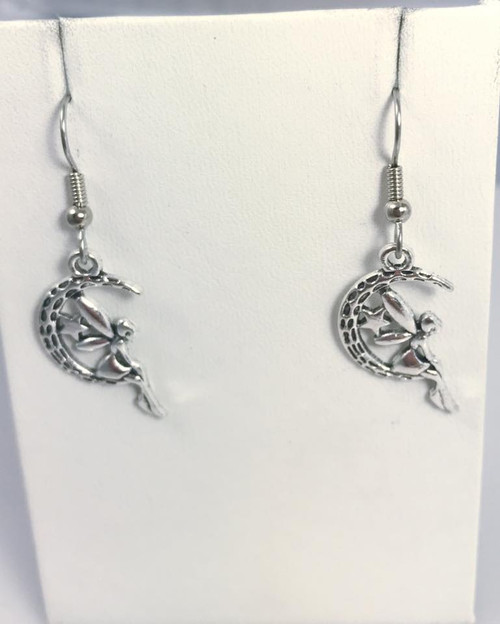 Resell for 6.00 or more Pewter fairy in moon charm Surgical steel ear wires Style# FME100717g
