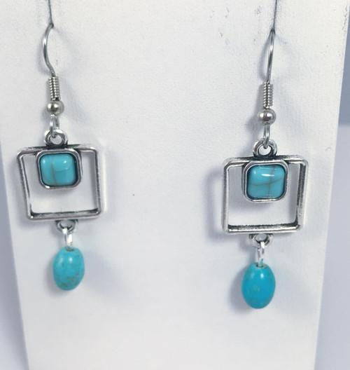 Resell for 9.00 or more Pewter charm Turquoise magnesite  Surgical steel ear wires Style #PTDE100817g