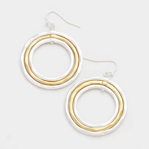 "resell for 21.00 or more Style #TGH101117g • Color : Worn Gold, Worn Silver  • Size : 1.5"" X 1.75"" • Fish Hook Back • Material : Lead and nickel compliant • Triple Metal Hoop Earrings"