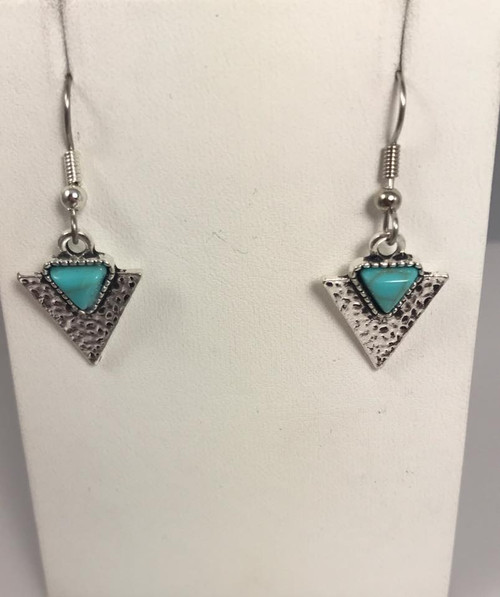Resell for 9.00 or more Pewter hammered arrow with turquoise magnesite  Surgical steel ear wires Style #TMAE101217g