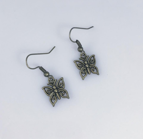 Resell for 5.00 or more Antiqued brass butterfly  Steel earwires Style #BOBE101317g