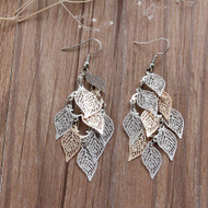 "resell for 12.00 or more  Filigree Stamping Earrings Leaf Hollow Silver Tone & Gold Plated 80mm(3 1/8"") Style #LLLCE101417g"