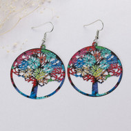 "resell for 12.00 or more Filigree Stamping Earrings Round Tree Carved Hollow Silver Tone Multicolor Enamel 61mm(2 3/8"") x 40mm(1 5/8"") Style #LLMTE101417g"