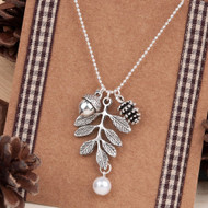 "resell for 9.00 or more Necklace Antique Silver Pine Cone Acorn Leaf White Imitation Pearl 47.5cm(18 6/8"") long Style #SLAN101917g"