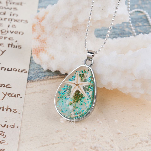 """resell for 18.00 or more Ocean Jewelry Transparent Resin Dried Flower Necklace Ball Chain Silver Plated Drop 45cm(17 6/8"""") long Style #SRN101917g"""