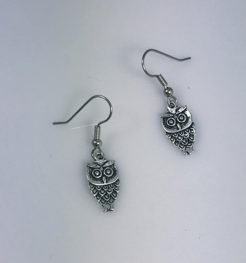 Resell for 5.00 or more Pewter owl  Surgical steel ear wires Style #TOE102217g