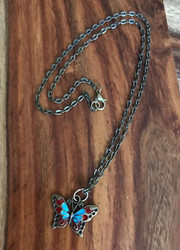 Resell for 9.00 or more Antiqued brass butterfly Enamel 20 inch brass chain Style #EBBN103017g