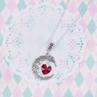 "resell for 12.00 or more Glass Wine Red Heart Half Moon Necklace Textured Link Cable Chain Antique Silver Face Carved 67cm(26 3/8"") long Style #MFRN110217g"
