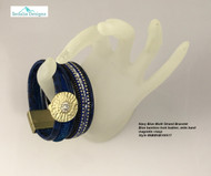Multi Strand Bracelet Navy Blue, gold tone crystal wide band fits up to 8 inch
