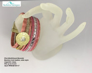 Pink Leather Multi Strand Wide band bracelet fits up to 8 inch magnetic clasp