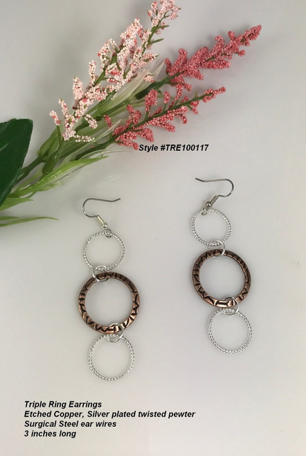 Triple Dangle Earrings Etched Copper with plated silver 3 inches long