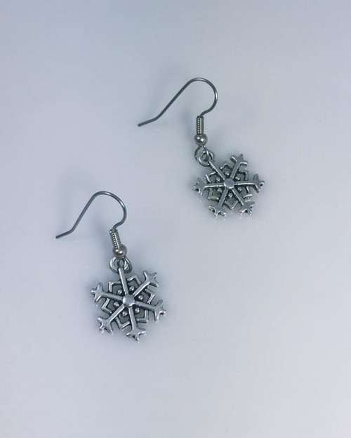 Resell for 5.00 or more Pewter snowflake  Surgical steel ear wires Style #SFE111117g