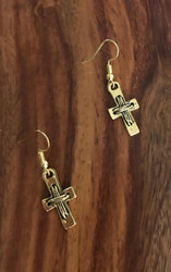 Resell for 6.00 or more Gold tone cross Plated steel earwires Style #GCE111317g
