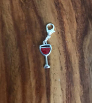resell for 6.00 or more pewter enameled  wine glass lobster clasp bauble Style# EWC111317g