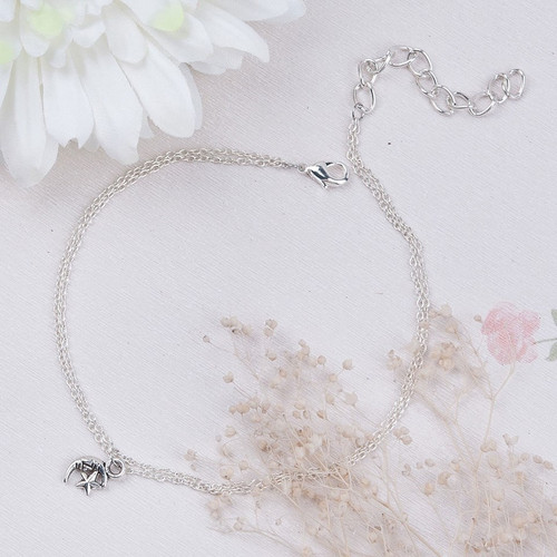 "resell for 9.00 or more Anklet Double Layer Link Cable Chain Silver Plated & Antique Silver Half Moon Star 22.5cm(8 7/8"") plus ext Style #MSA111617g"