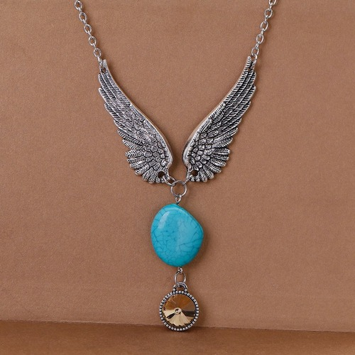 """resell for 12.00 or more urquoise Boho Chic Necklace Link Cable Chain Silver Tone & Antique Silver Green Blue Wing Round Coffee Rhinestone Faceted 52cm(20 4/8"""") long Style #TCWN111617g"""