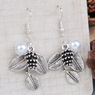 "resell for 6.00 or more Earrings Antique Silver White Pine Cone Leaf Imitation Pearl 47mm(1 7/8"") x 24mm(1"") Style #PPE111617g"
