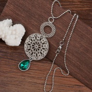 "resell for 12.00 or more Mandala Necklace Silver Tone Dark Green Round Drop Hollow 52.5cm(20 5/8"") long Style #GCMN111917g"