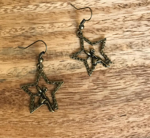 Resell for 5.00 or more Antiqued brass fairy on star  Steel earwires Style #FSBE112117g