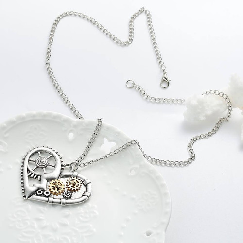 "resell for 15.00 or more Steampunk Necklace Link Curb Chain Antique Silver Heart Gear Hollow Pendant 57.0cm(22 4/8"") long Style #SPHN112217g"