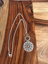 """Resell for 9.00 or more 18 inch silver tone chain Pewter Buddhism Mandala Pendants Round Flower Silver Tone Filigree 5.6cm(2 2/8"""") x 3cm(1 1/8"""") Style #MN112417g"""