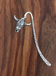 Resell for 9.00 or more Pewter ornate cow skull Bookmark Style #CSB112517g