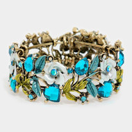 "resell for 27.00 or more • Color : Blue, Antique Gold • Theme : Flower & Leaf, Heart  • Size : 1"" H, 2.25"" D • Cuff • Glass Crystal Metal Leaf Vine Cuff Bracelet Style #TBCB112917g"