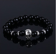 resell for 15.00 or more Black Obsidian stretch bracelet. fits 7 to 8 inch Pewter skull Style #BOSB113017g