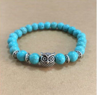 resell for 15.00 or more Turquoise Magnesite Stretch Bracelet. Fits 7 - 8 inch Pewter Owl Style #TMOB113017g