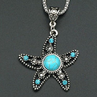 resell for 12.00 or more Pewter Starfish with blue crystal and turquoise magnesite Silver tone 22 inch chain with ext Style #SFN113017g