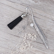 """resell for 12.00 or more Vintage Handmade Bookmark Feather Antique Silver Key Pendant Acrylic White Pearl Imitation Bead With Velvet Faux Suede Black Tassel 11.7cm(4 5/8"""") Style #KTFB113017g"""