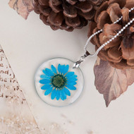resell for 12.00 or more Transparent Resin Dried Flower Necklace Ball Chain Blue 18 inch plus ext. Style #BRFN120117g