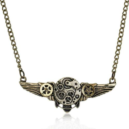 "resell for 18.00 or more Steampunk Necklace Link Curb Chain Antique Bronze Wing Gear Connector 64.2cm(25 2/8"") long Style #SPFN120217g"