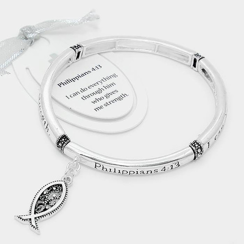 "resell for 27.00 or more • Color : Antique Silver • Theme : Religious  • Size : 1.25"" H • Stretchable • ""Philippians 4:13"" metal ichthus charm bracelet Style #PSB120517g"
