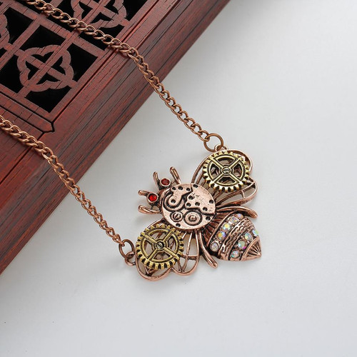 """resell for 15.00 or more Steampunk Necklace Link Curb Chain Antique Copper Bees Gear Connector With Multicolor Rhinestone 61.0cm(24"""") long Style #CCSBN120817g"""