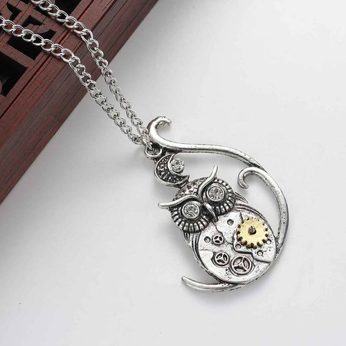 "resell for 18.00 or more Steampunk Necklace Link Curb Chain Antique Silver Wing Gear Pendant With Clear Rhinestone 63.5cm(25"") long Style #SPON120817g"