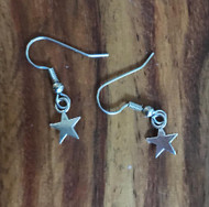 "Resell for 5.00 or more Tiny pewter star 3/8"" Surgical steel ear wires Style #TSE120917g"