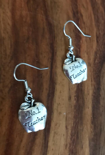 Resell for 5.00 or more Pewter apple says no 1 teacher Surgical steel ear wires Style #NTE120917g