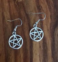 Resell for 5.00 or more Pewter pentacle  Surgical steel ear wires Style #PCE120917g