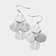 "resell for 18.00 or more • Color : Rhodium • Theme : Filigree  • Size : 1"" X 1.75"" • Fish Hook Back • Material : Lead and nickel compliant • Filigree Metal Disc Cluster Dangle Earrings Style #FLDCE121217g"